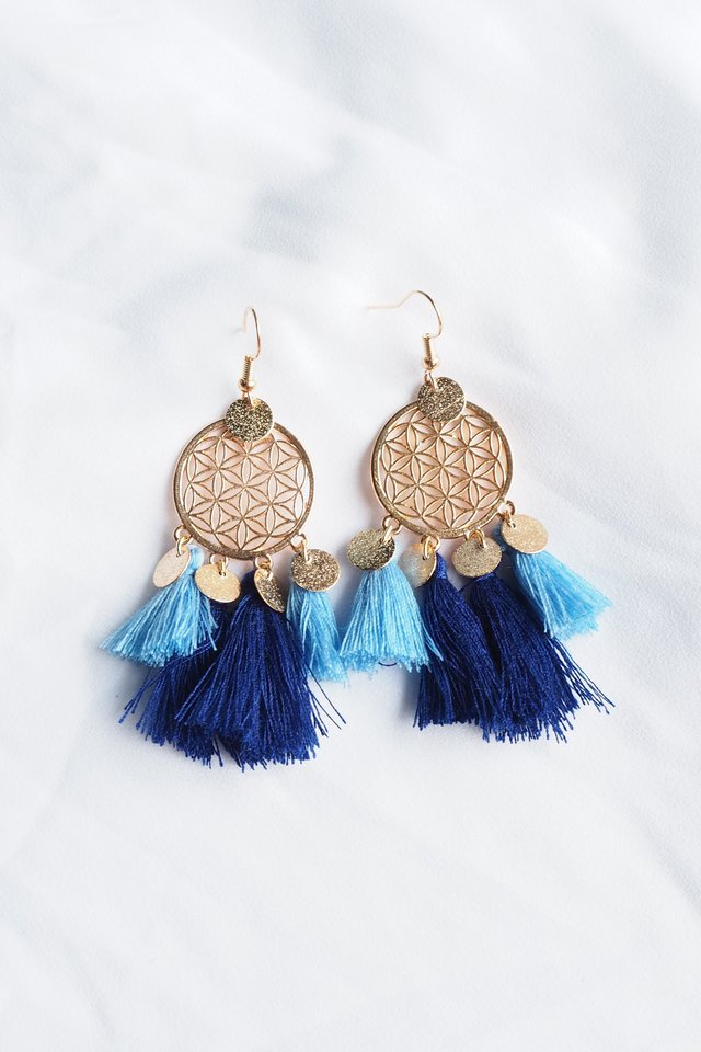 Tania Dream Catcher Earrings (Blue)
