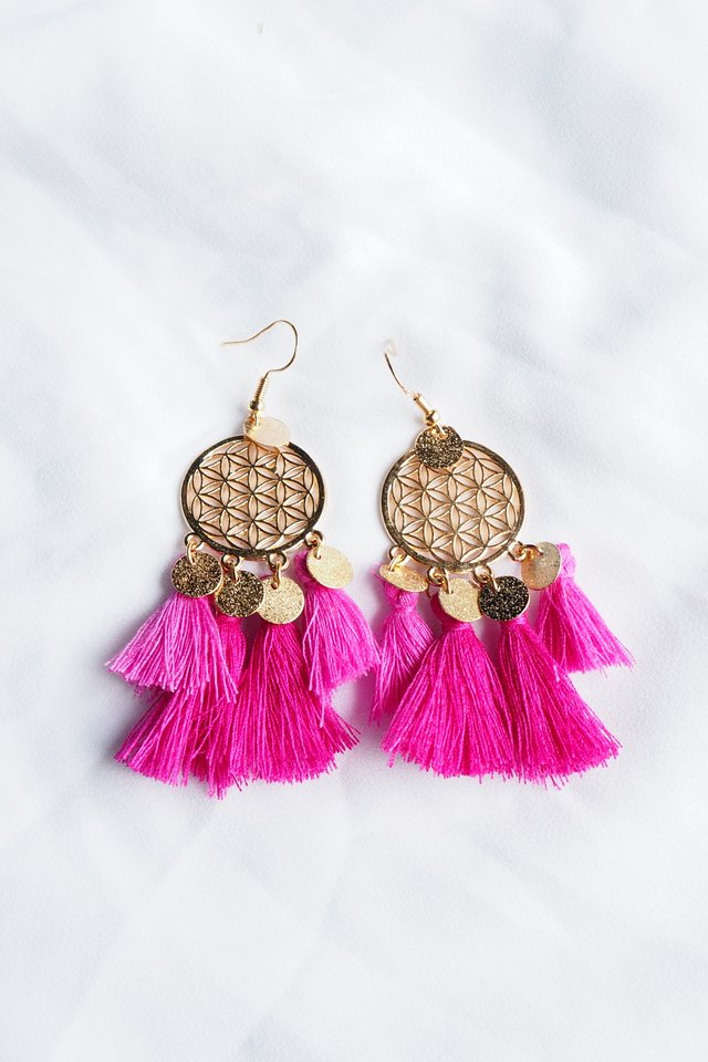 Tania Dream Catcher Earrings (Fuschia)