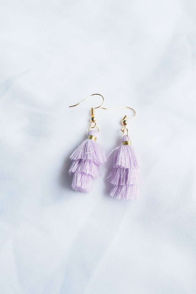Mini Tassel Earrings (Lavender)
