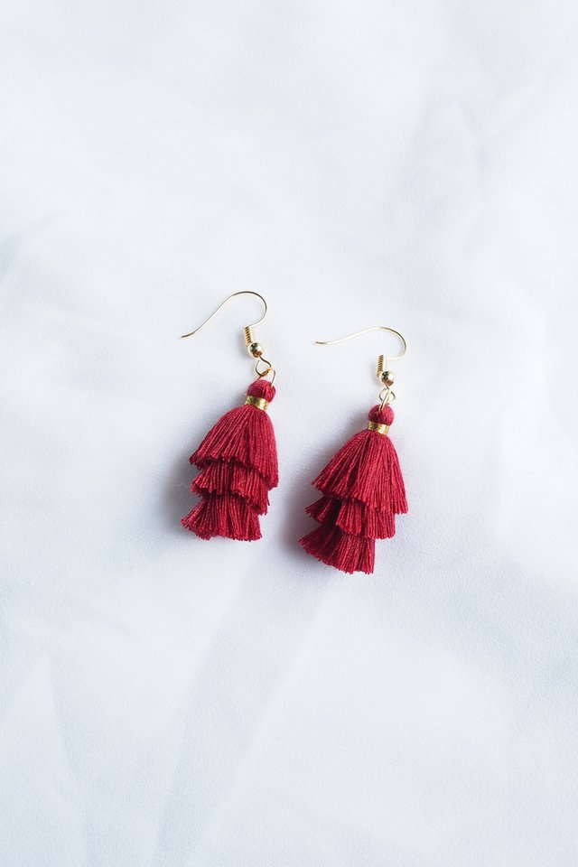 Mini Tassel Earrings (Maroon)