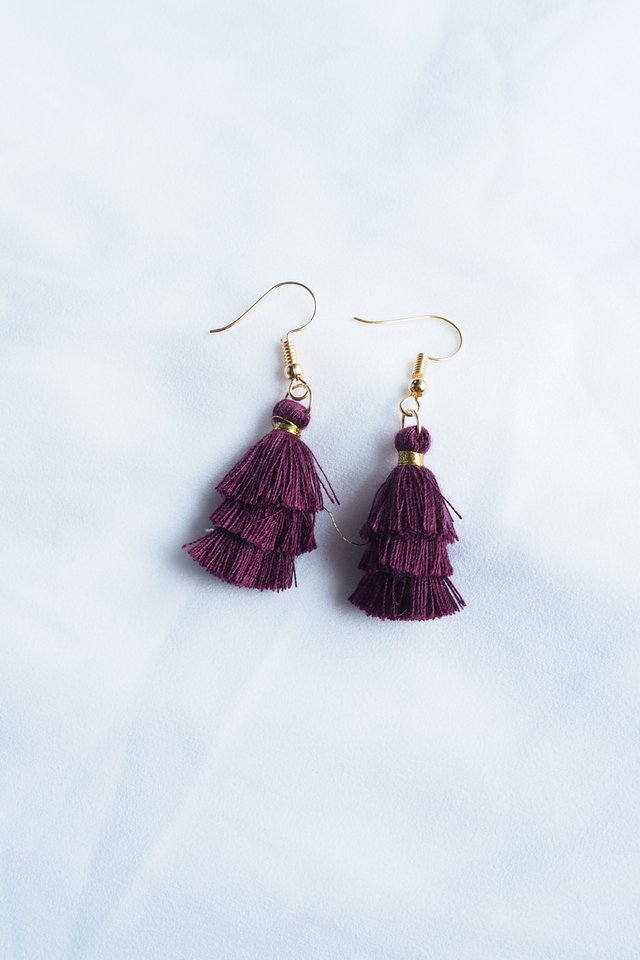 Mini Tassel Earrings (Plum)