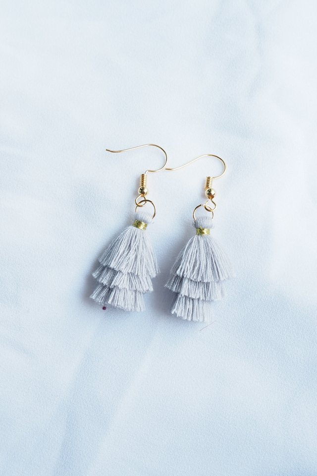 Mini Tassel Earrings (Grey)