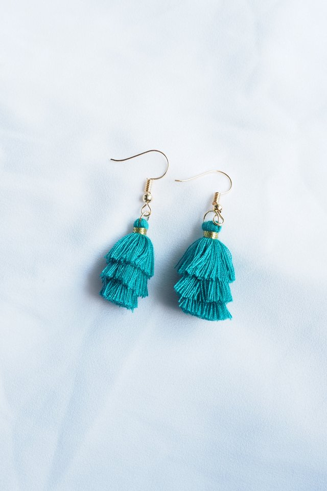 Mini Tassel Earrings (Emerald)