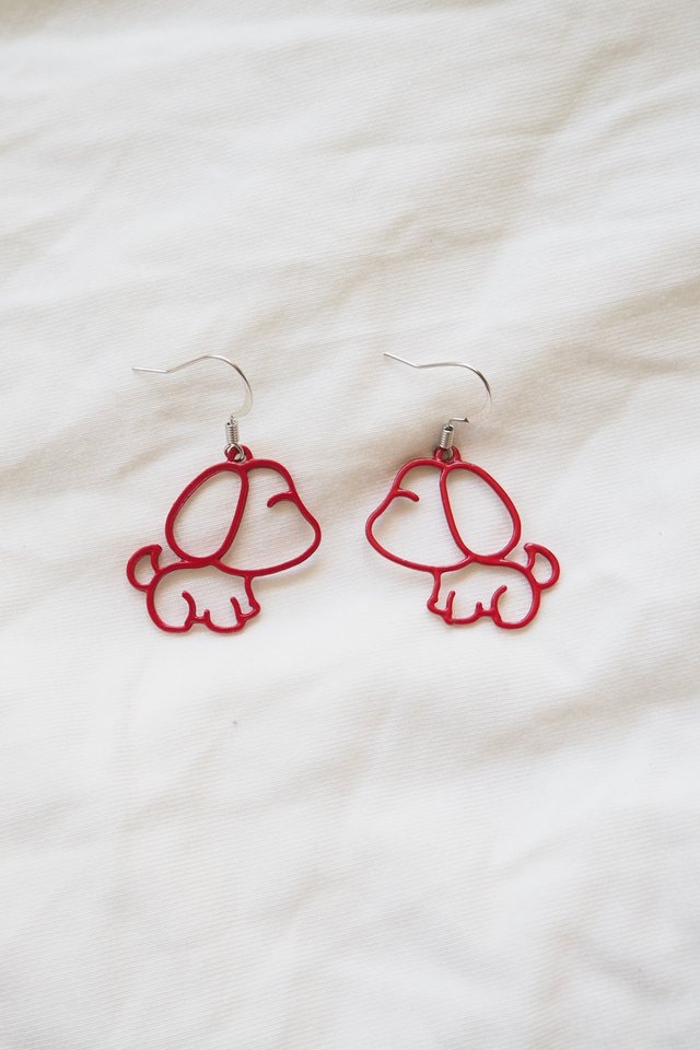 Puppy Earrings (Red)