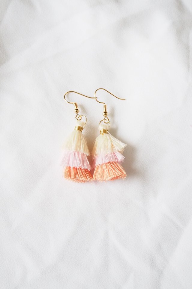 Mini Tassel Earrings (Apricot)