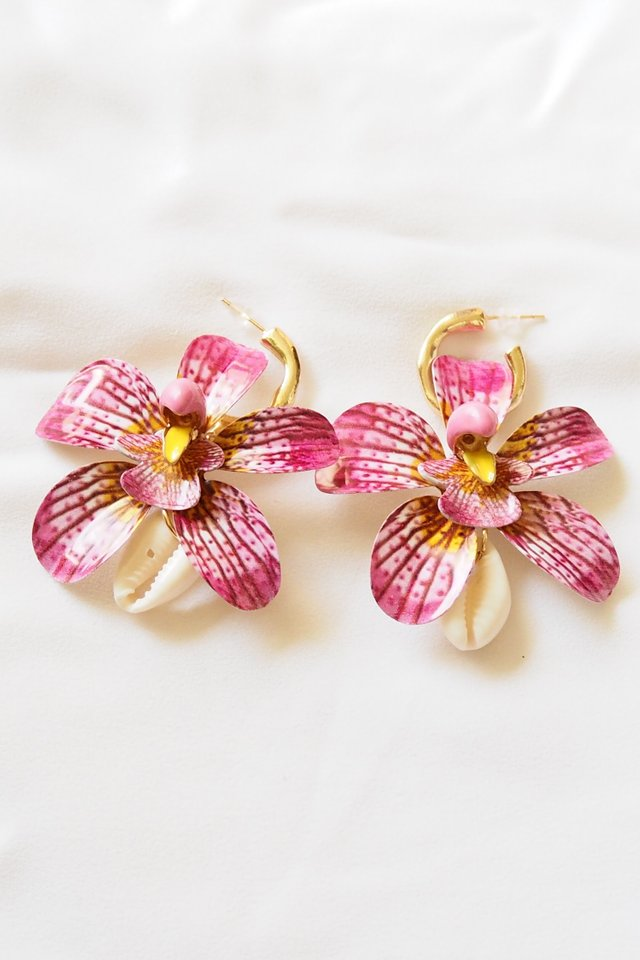 Orchid Dangle Earstuds