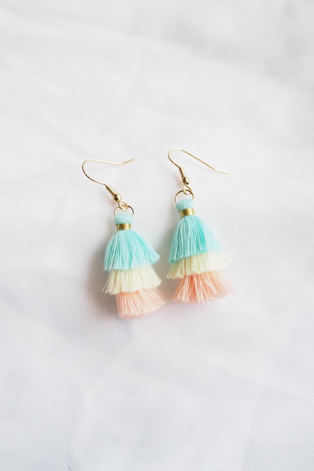 Mini Tassel Earrings (Pastel)