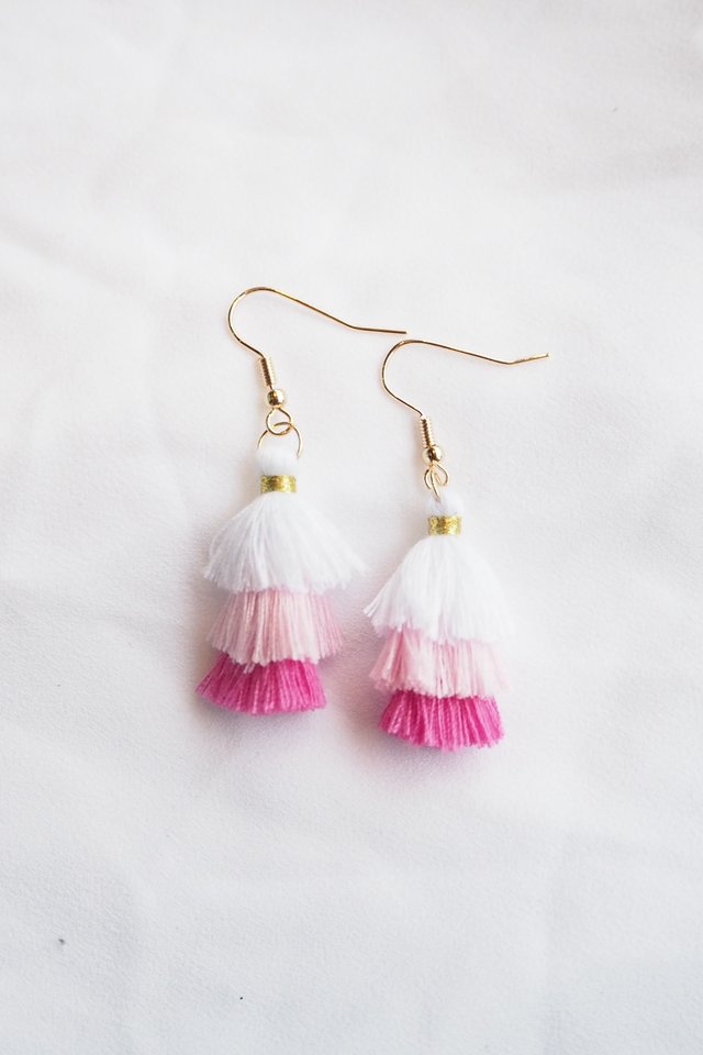Mini Tassel Earrings (Pink)