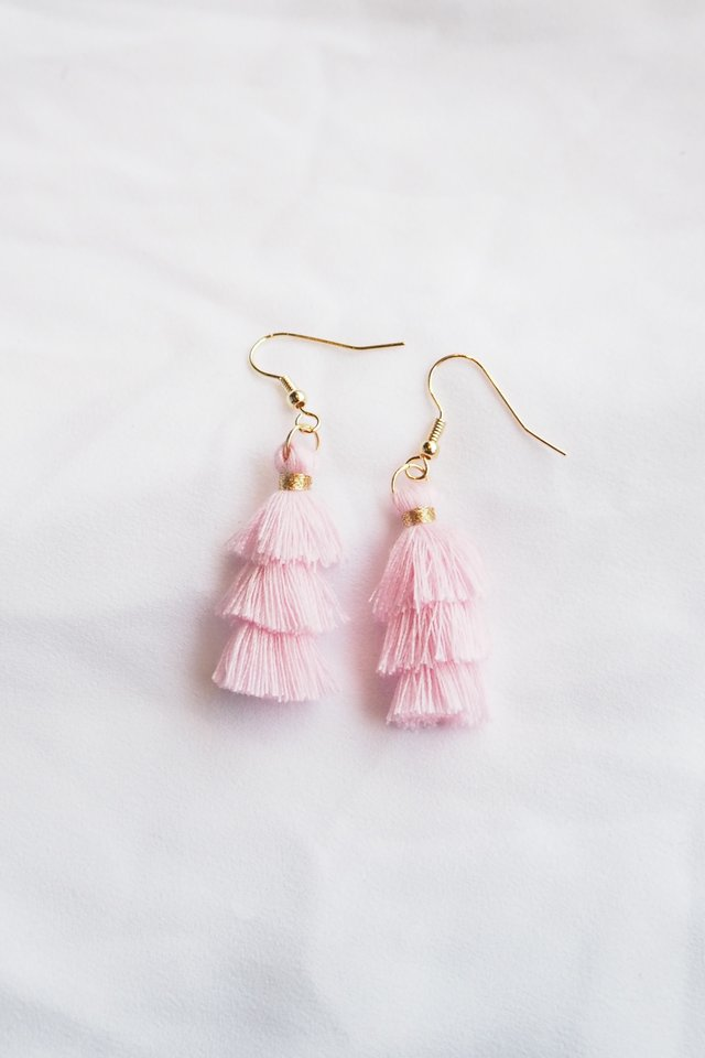 Mini Tassel Earrings (Baby Pink)