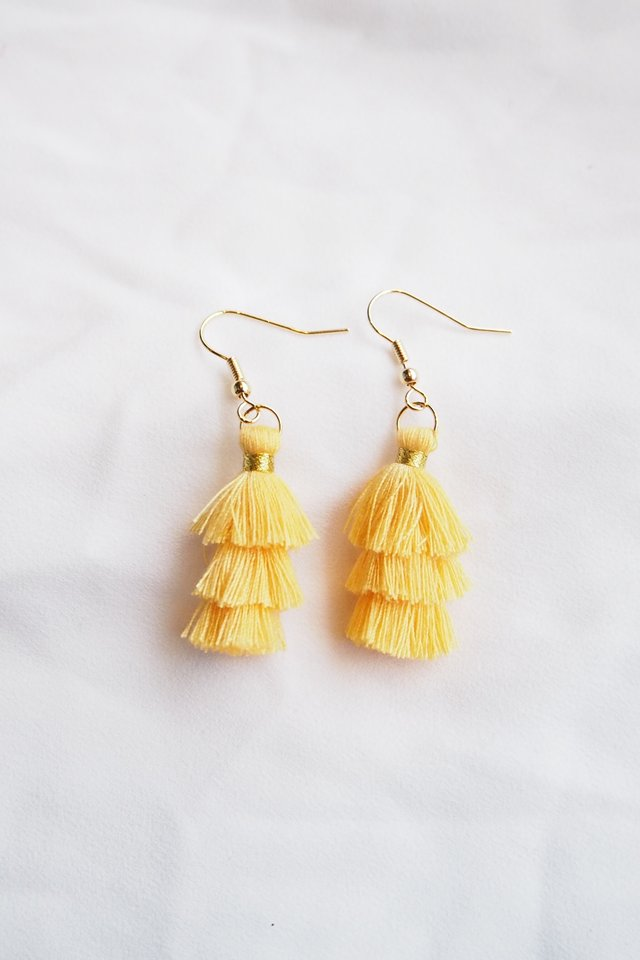 Mini Tassel Earrings (Marigold)