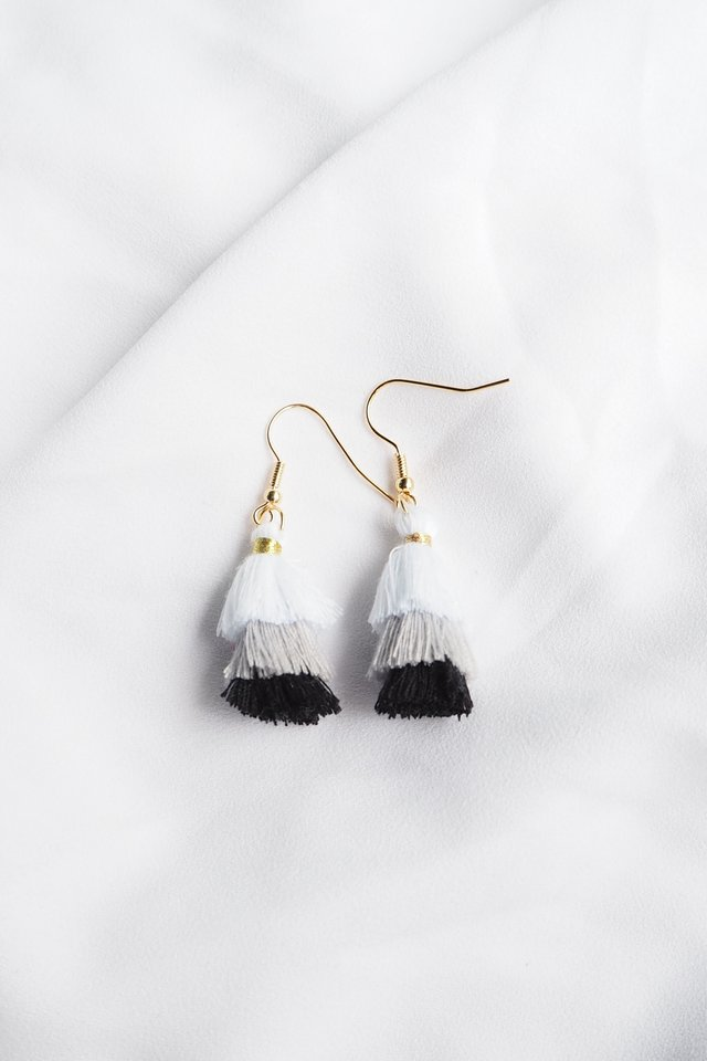 Mini Tassel Earrings (Monochrome)