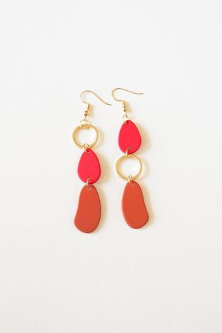 Colouret Asymmetrical Earrings (Red)