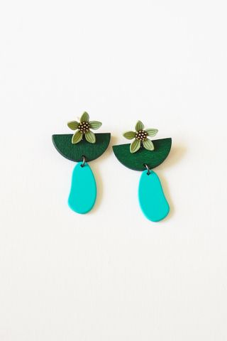 Flower Geometric Earstuds (Forest)