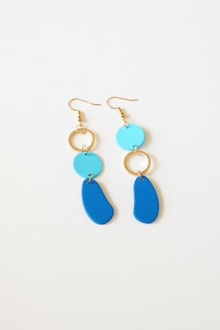 Colouret Asymmetrical Earrings (Cobalt)