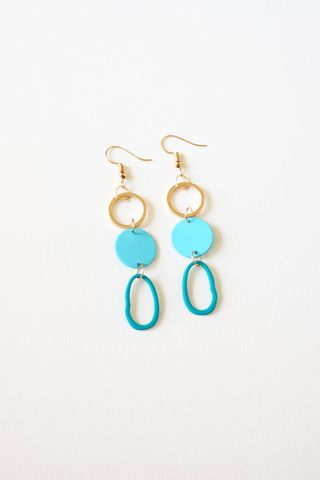 Colouret Asymmetrical Earrings (Blue)