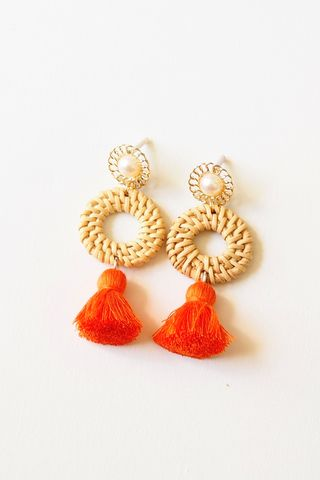 Tassel Rattan Earstuds (Orange)