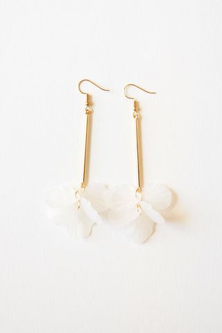 Petal Drop Earrings (White)