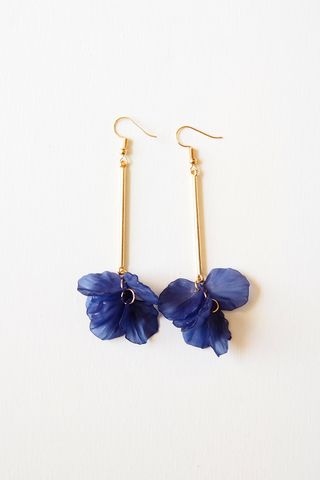 Petal Drop Earrings (Navy)