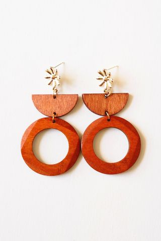 Flower Wood Geometric Earstuds (Dark)