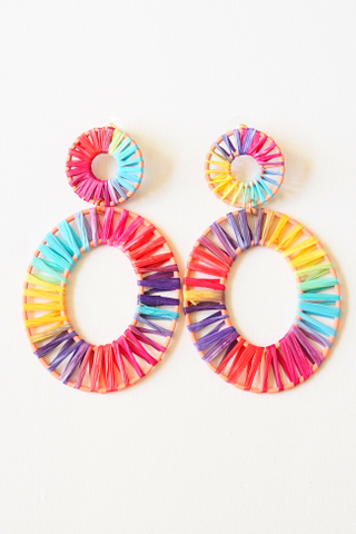 Oval Colourful Weave Earstuds (A)