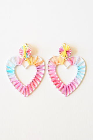 Heart Colourful Weave Earstuds (C)