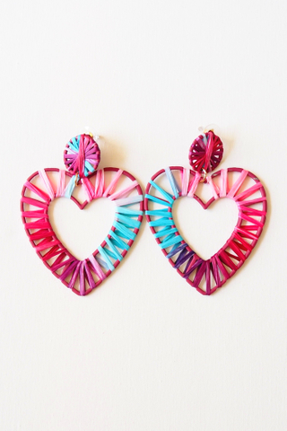 Heart Colourful Weave Earstuds (B)