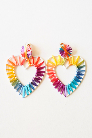 Heart Colourful Weave Earstuds (A)