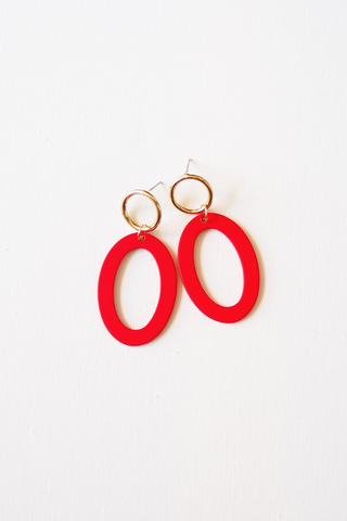 Oval Earstuds (Red)
