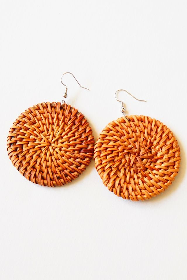 Round Rattan Earrings (Dark)