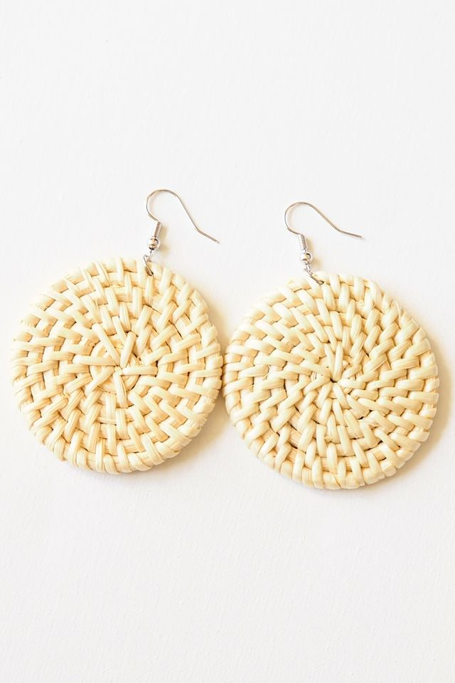 Round Rattan Earrings (Light)
