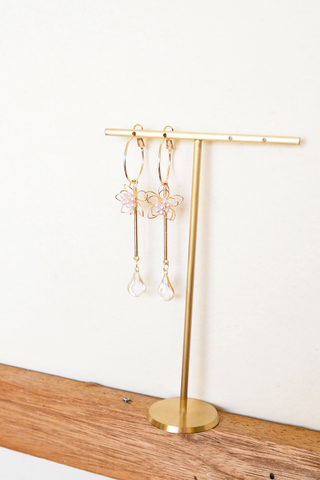 Flower Dangle Hoops