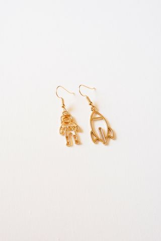 Mismatched Astronaut Earrings (Gold)
