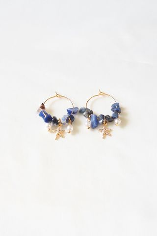 Mini Seashell Hoops (Blue)