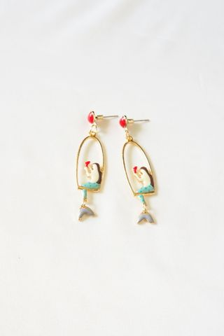 Mermaid Earstuds (Red)