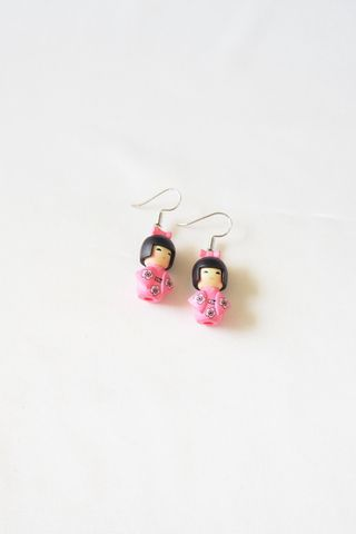 Kimono Girl Earrings (Pink)