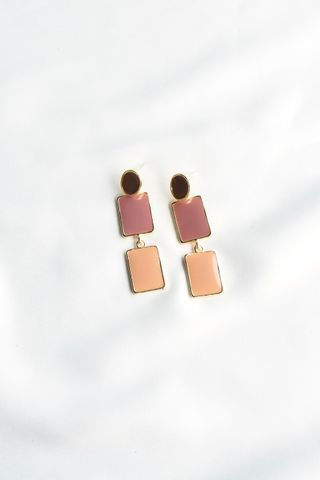 Colour Block Earstuds (Pink)