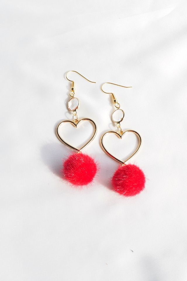 Heart Pom Earrings