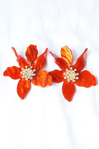 Apryl Flower Earstuds (Orange)