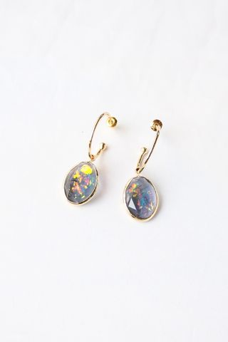 Iridescent Oval Hoops