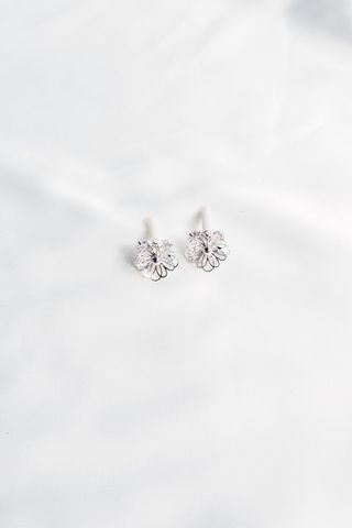 Mini Flower Bling Earstuds (Silver)