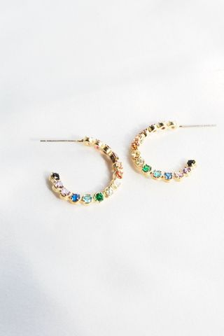 Mini Rainbow Gem Hoops (Gold)