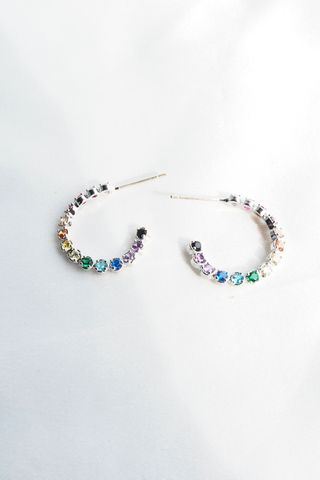 Mini Rainbow Gem Hoops (Silver)