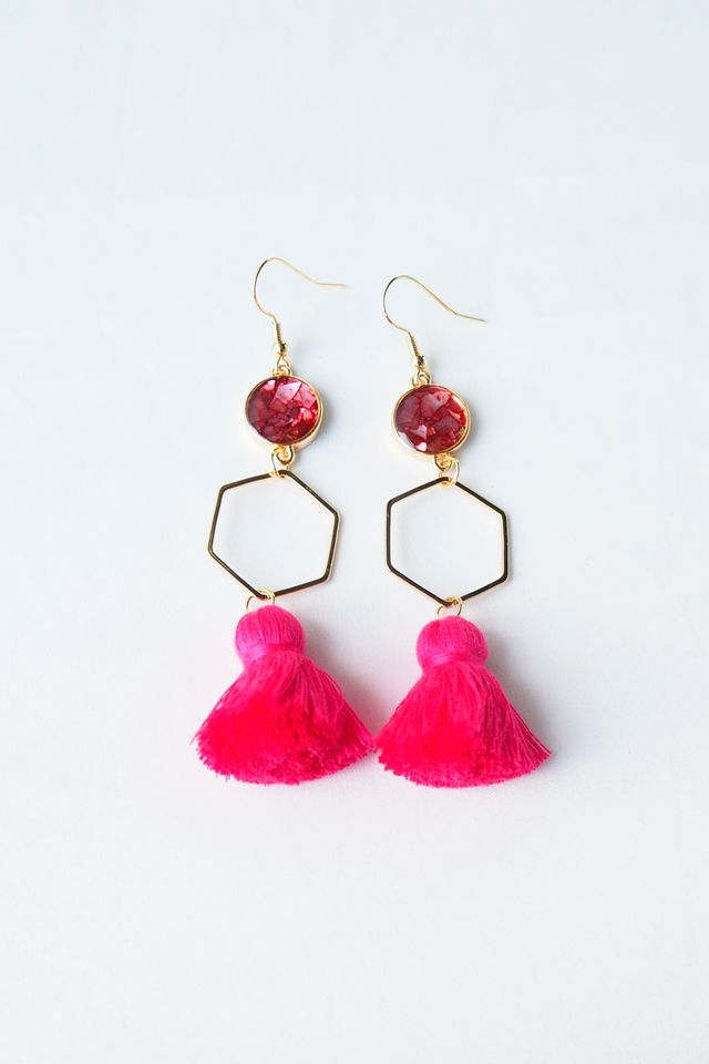 Hexa Layered Tassel Earrings