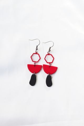 Mini Geometric Earrings (Red)