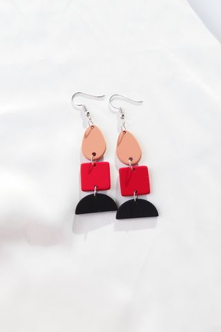 Layered Geometric Earrings (Red)