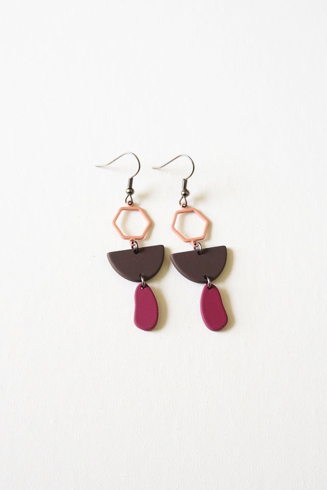 Mini Geometric Earrings (Purple)