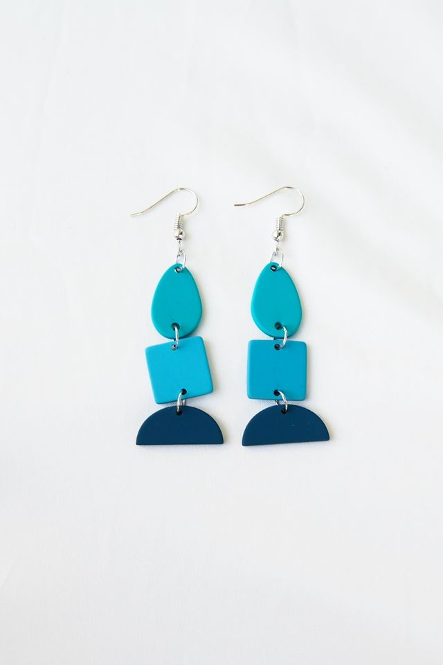Layered Geometric Earrings (Blue)