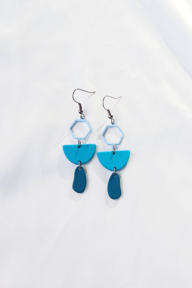 Mini Geometric Earrings (Blue)
