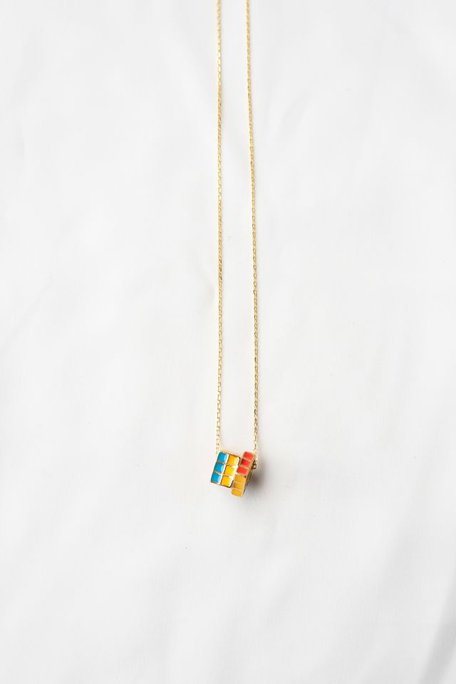 Rubik's Cube Necklace (Gold)