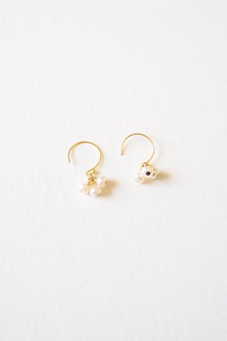 Mini Pearl Cluster Hoops